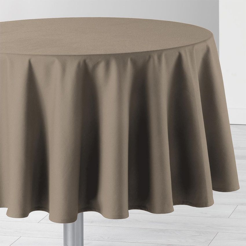 nappe ronde d 170 cm id ale taupe nappe de table eminza. Black Bedroom Furniture Sets. Home Design Ideas