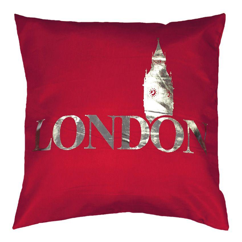 Housse de coussin silver london rouge coussin et housse for Housse de coussin rouge