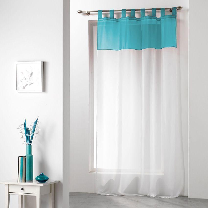 voilage 140 x h240 cm bicolore bleu voilage eminza. Black Bedroom Furniture Sets. Home Design Ideas