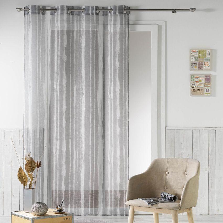 voilage 140 x h240 cm origine gris voilage eminza. Black Bedroom Furniture Sets. Home Design Ideas