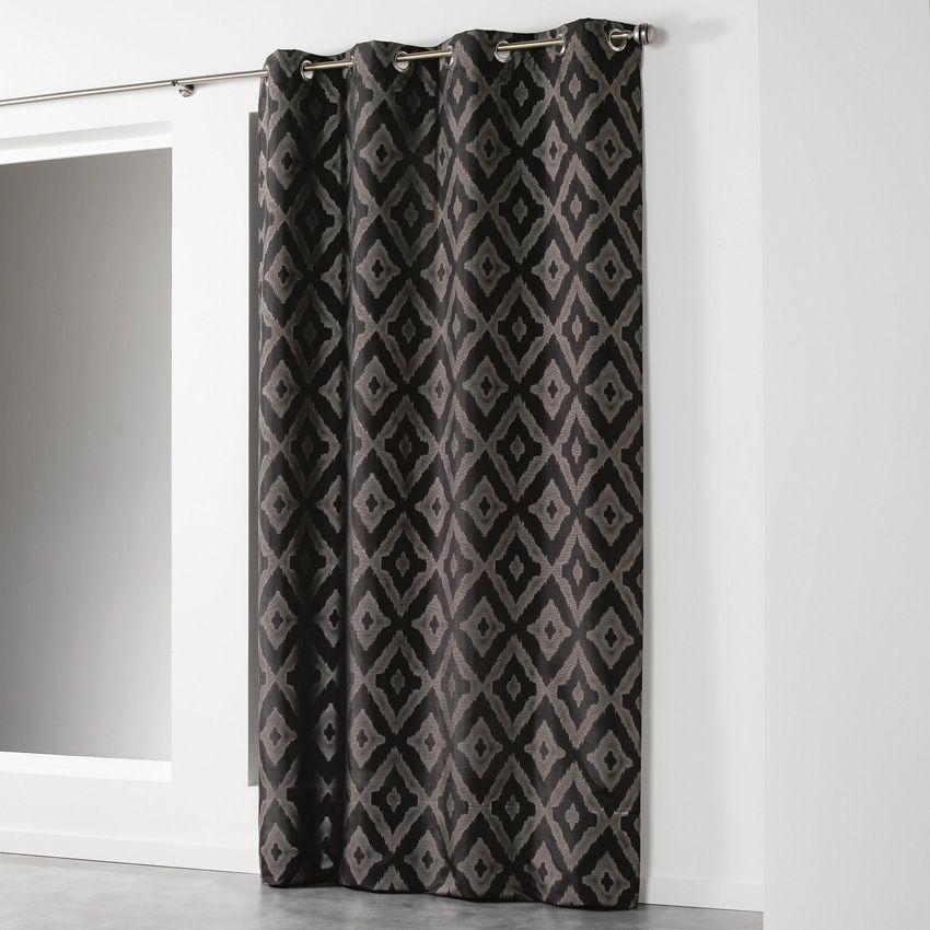 rideau tamisant 140 x h260 cm lenox noir rideau. Black Bedroom Furniture Sets. Home Design Ideas
