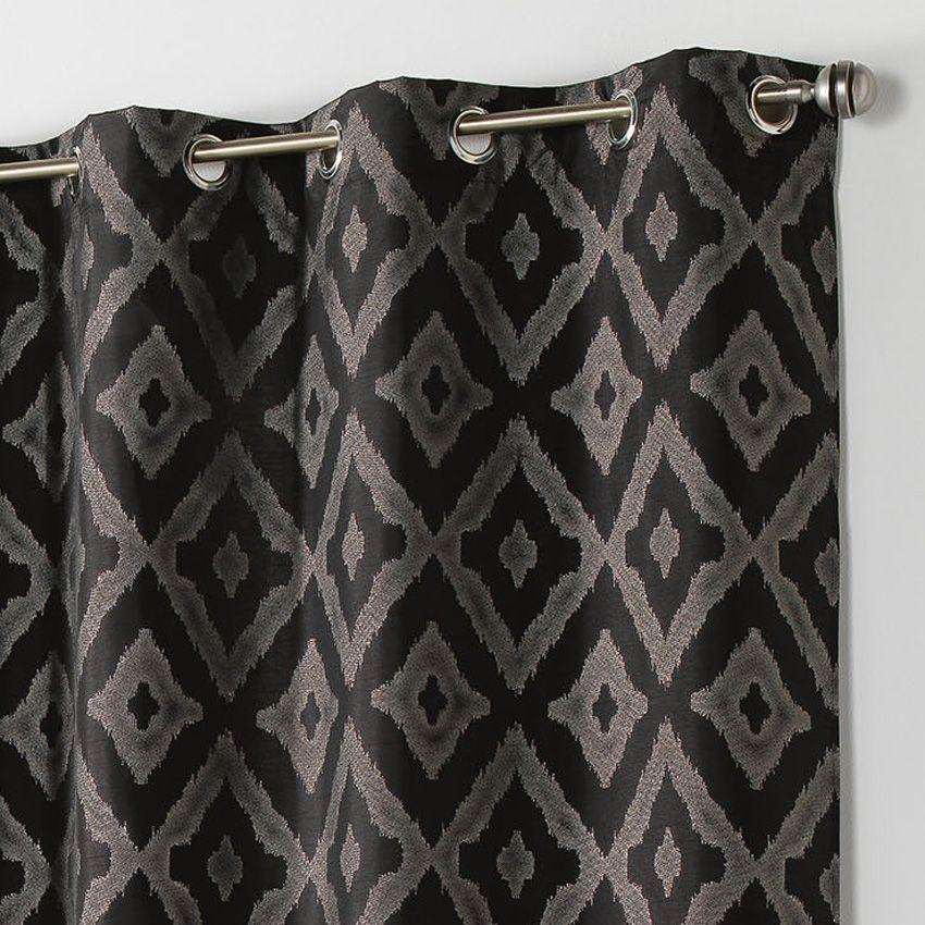 Rideau tamisant 140 x h260 cm lenox noir rideau for Bar noir at maison 140