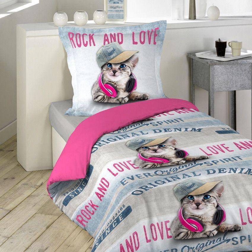 Housse de couette et une taie 140 cm girly cat housse for Housse couette une personne
