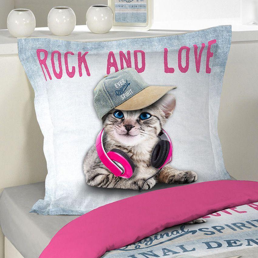 Housse de couette et une taie 140 cm girly cat housse for Housse de couette animaux