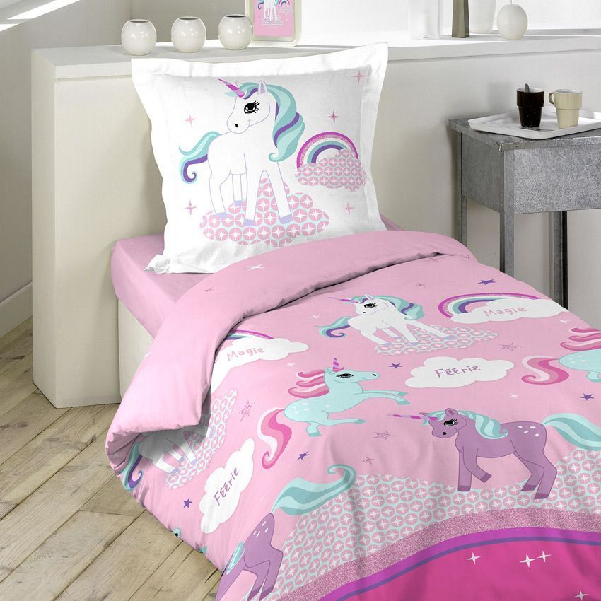 housse de couette et une taie 140 cm licorne housse de. Black Bedroom Furniture Sets. Home Design Ideas