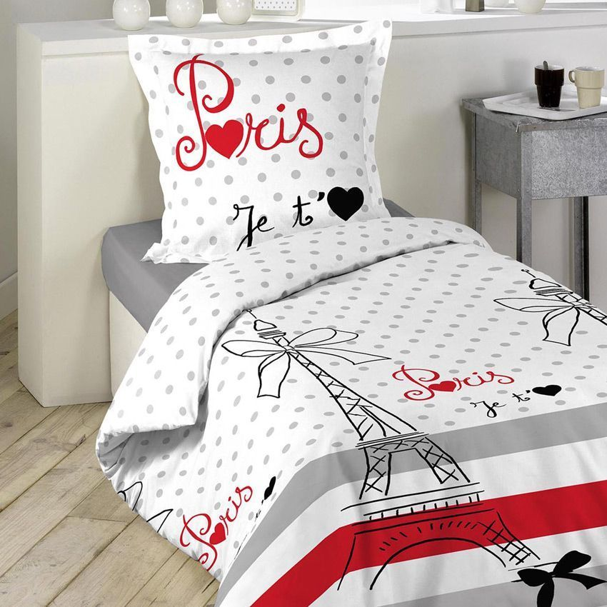 housse de couette et une taie 140 cm paris chic housse de couette eminza. Black Bedroom Furniture Sets. Home Design Ideas