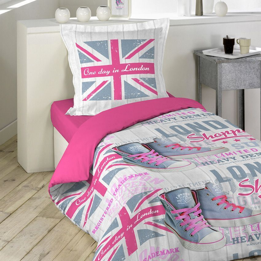 housse de couette et une taie 140 cm girly london. Black Bedroom Furniture Sets. Home Design Ideas