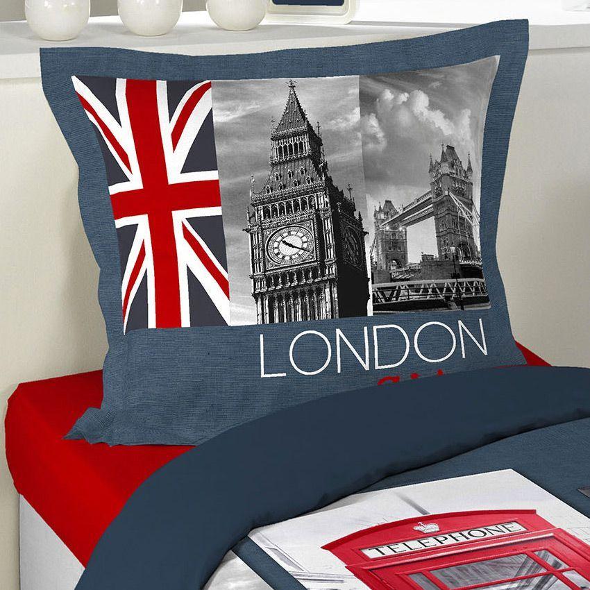 housse de couette et une taie 140 cm place london. Black Bedroom Furniture Sets. Home Design Ideas