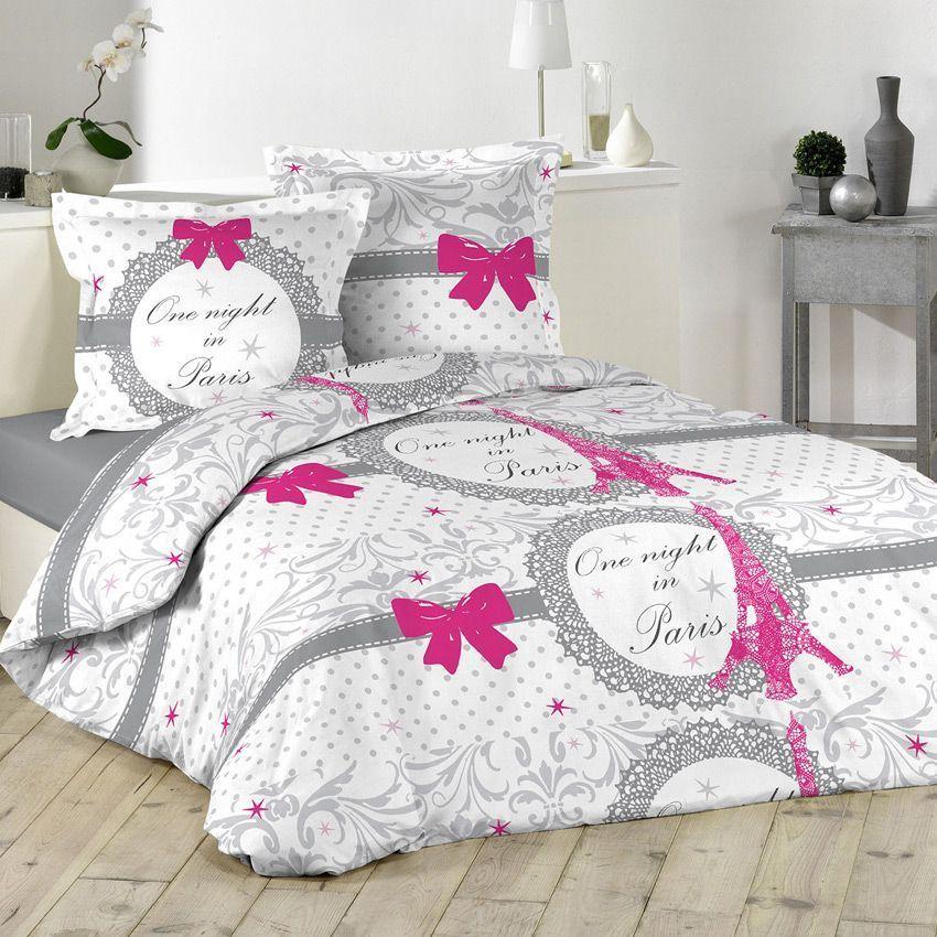 housse de couette et deux taies 240 cm paris love housse de couette eminza. Black Bedroom Furniture Sets. Home Design Ideas