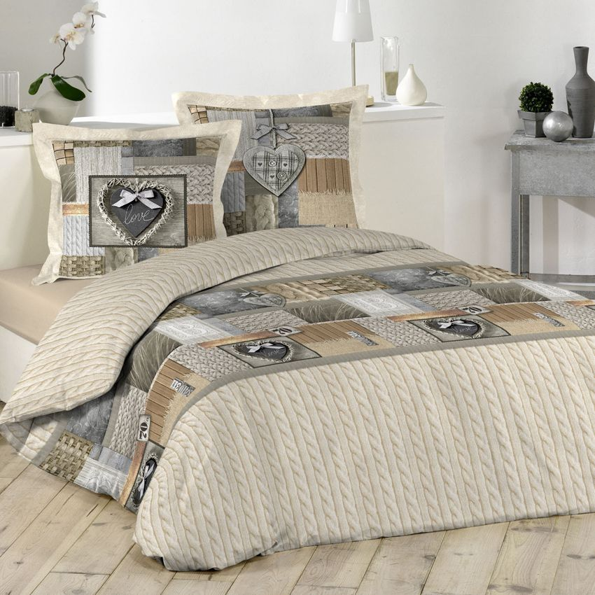 housse de couette et deux taies 260 cm cosy love beige. Black Bedroom Furniture Sets. Home Design Ideas