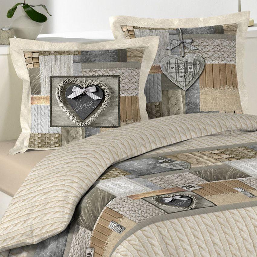 housse de couette et deux taies 260 cm cosy love beige housse de couette eminza. Black Bedroom Furniture Sets. Home Design Ideas