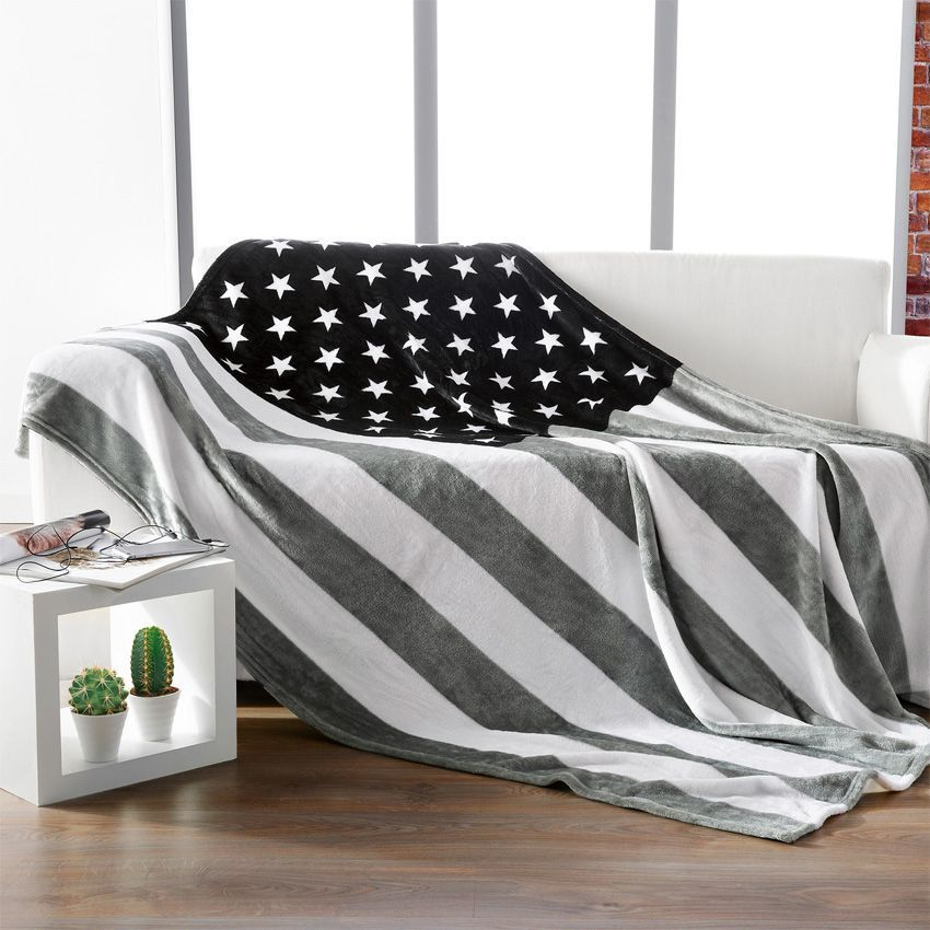 plaid doux 180 cm america plaid cocooning eminza. Black Bedroom Furniture Sets. Home Design Ideas