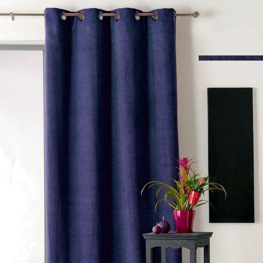 rideau occultant isolant 140 x h260 cm alaska bleu marine rideau occultant eminza. Black Bedroom Furniture Sets. Home Design Ideas