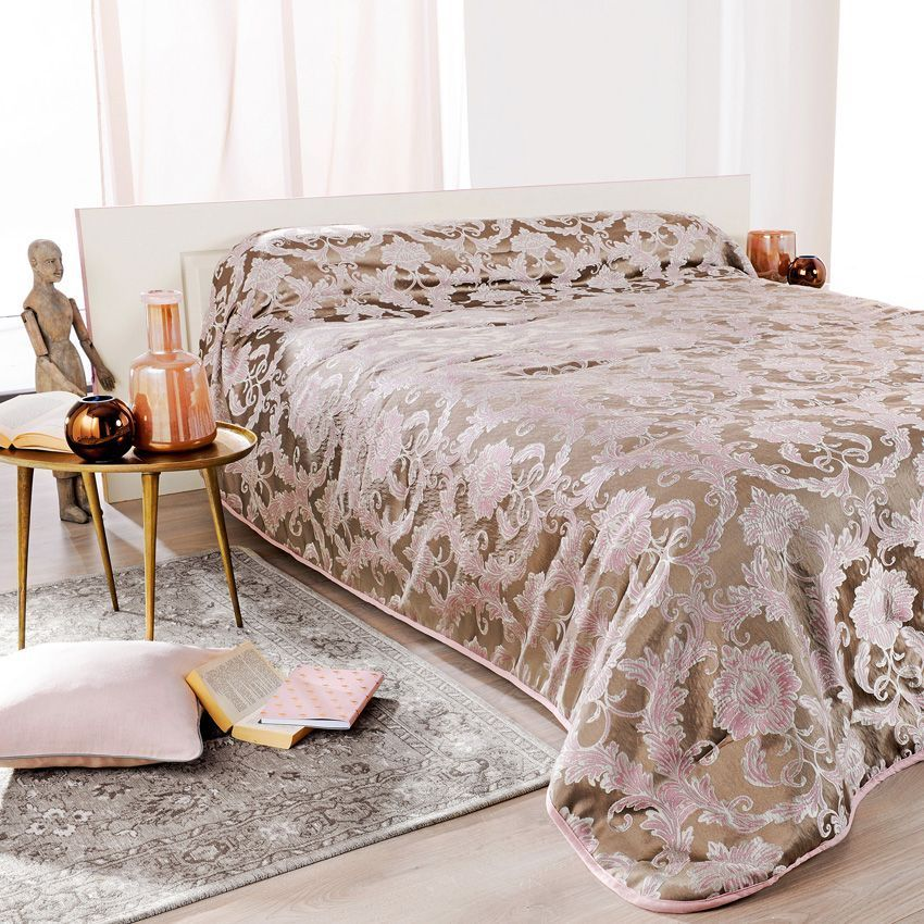 couvre lit 250 x 260 cm murano rose couvre lit boutis eminza. Black Bedroom Furniture Sets. Home Design Ideas