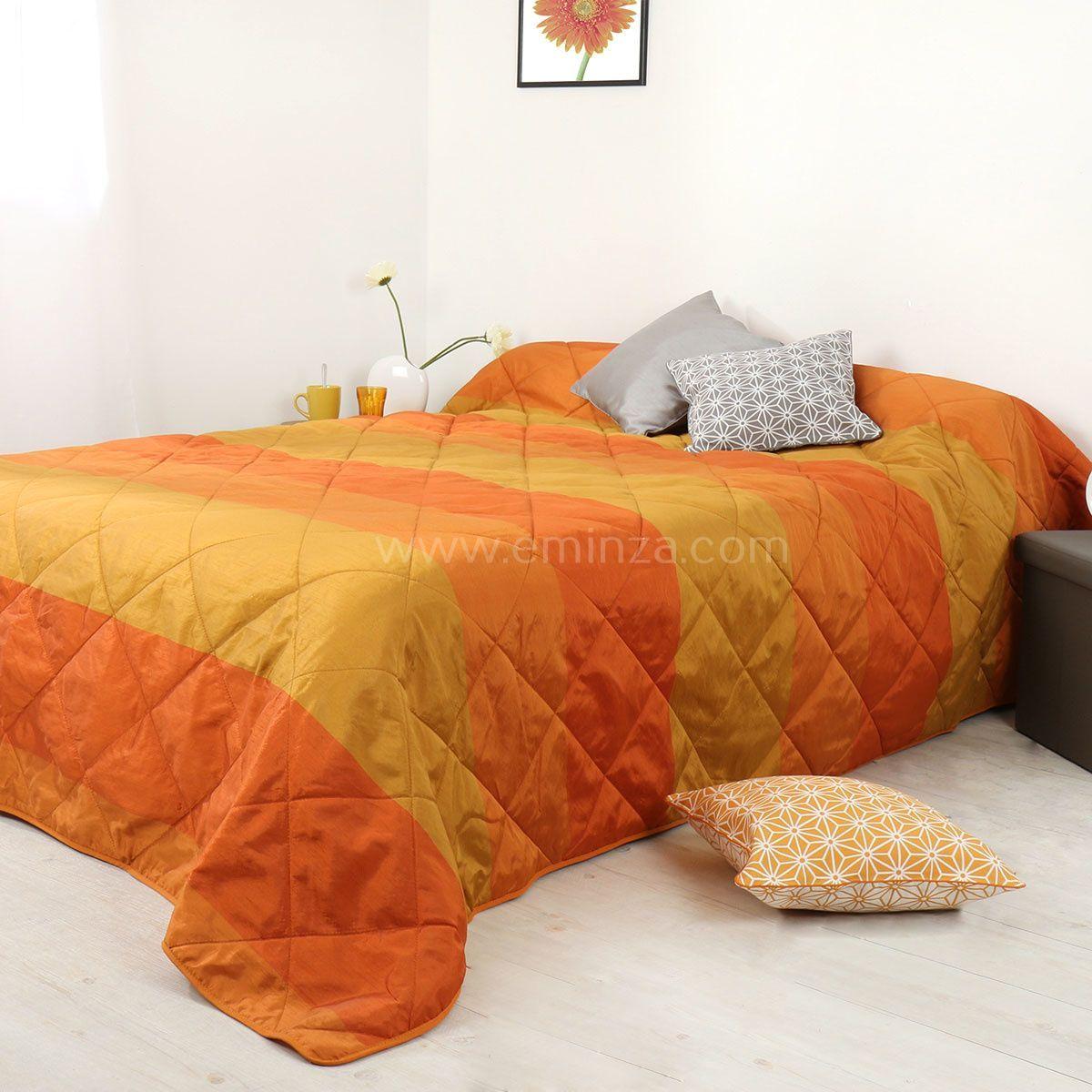 couvre lit 230 x 250 cm bergame orange couvre lit boutis eminza. Black Bedroom Furniture Sets. Home Design Ideas