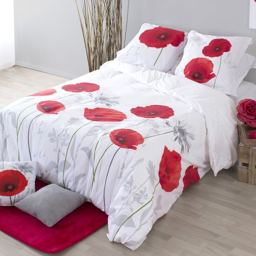 coussin coquelicot rouge coussin eminza. Black Bedroom Furniture Sets. Home Design Ideas