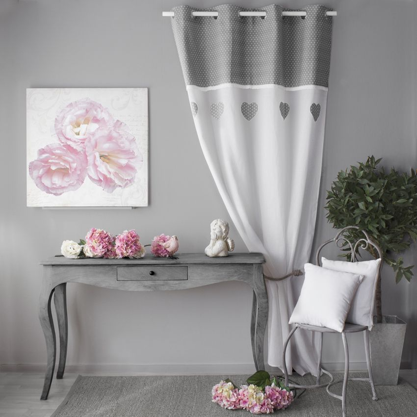 voilage 140 x h240 cm c ur etamine gris voilage eminza. Black Bedroom Furniture Sets. Home Design Ideas
