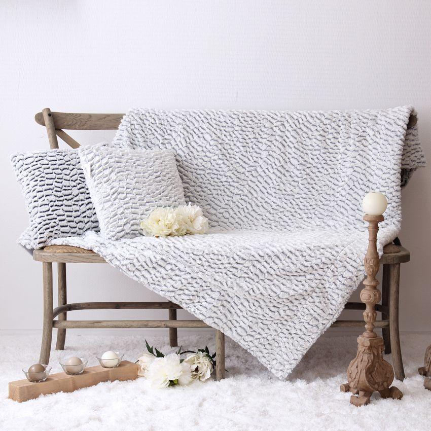 plaid doux 160 cm design caille gris plaid cocooning. Black Bedroom Furniture Sets. Home Design Ideas