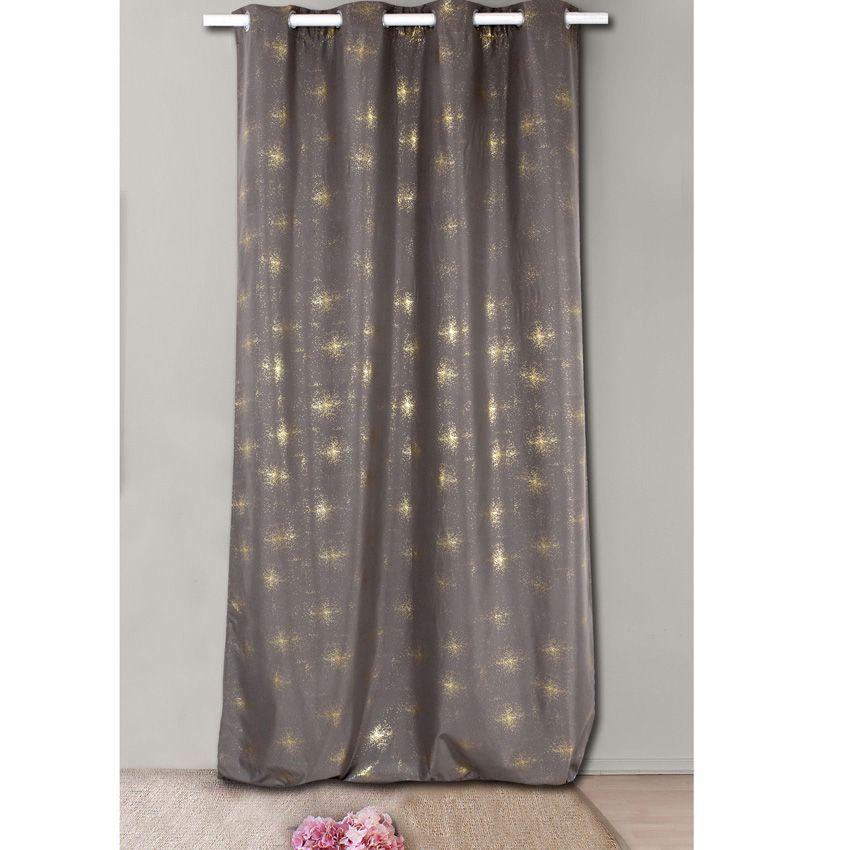 rideau occultant 140 x h240 cm lucy chocolat rideau occultant eminza. Black Bedroom Furniture Sets. Home Design Ideas