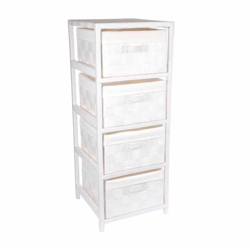 Meuble 4 paniers classique blanc meuble d co eminza Meuble classique