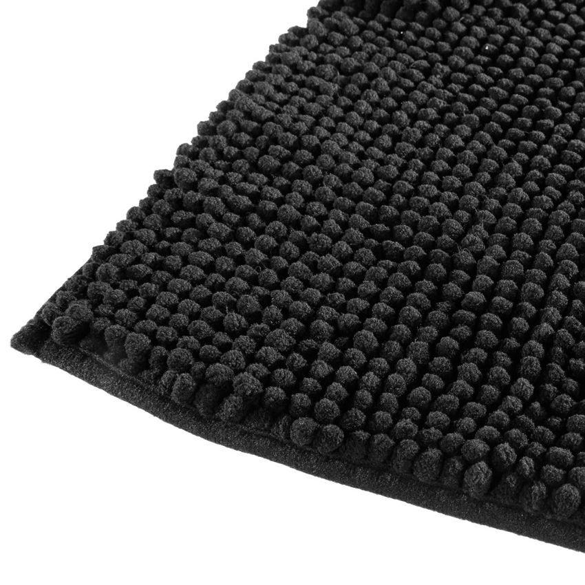 Tapis de bain chenille noir tapis salle de bain eminza - Tapis salle de bain noir ...