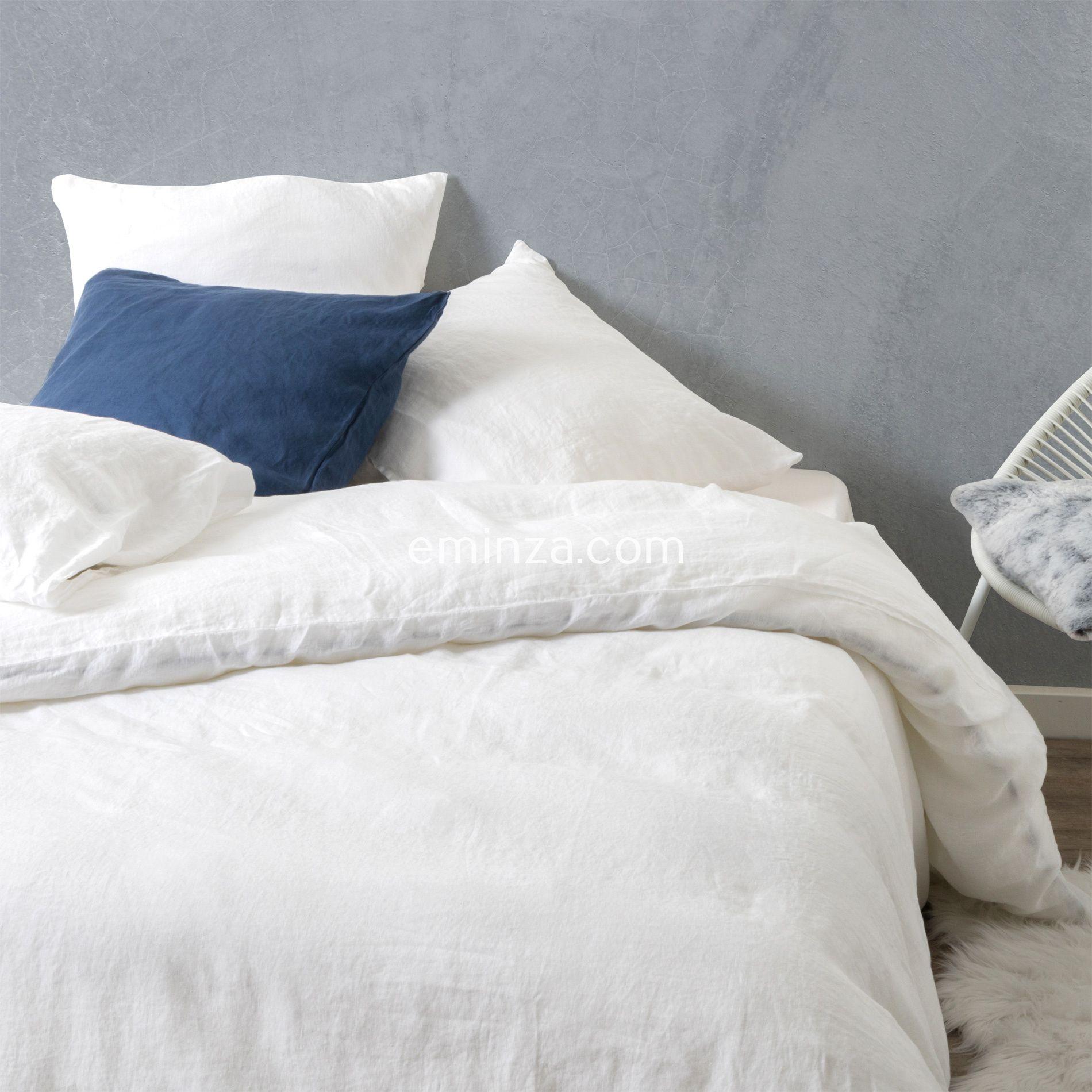 housse de couette 240 cm lin lav pure blanc neige housse de couette eminza. Black Bedroom Furniture Sets. Home Design Ideas