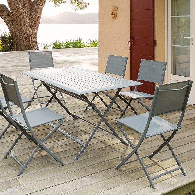lot de 2 chaises de jardin pliantes modula ardoise chaise et fauteuil de jardin eminza. Black Bedroom Furniture Sets. Home Design Ideas