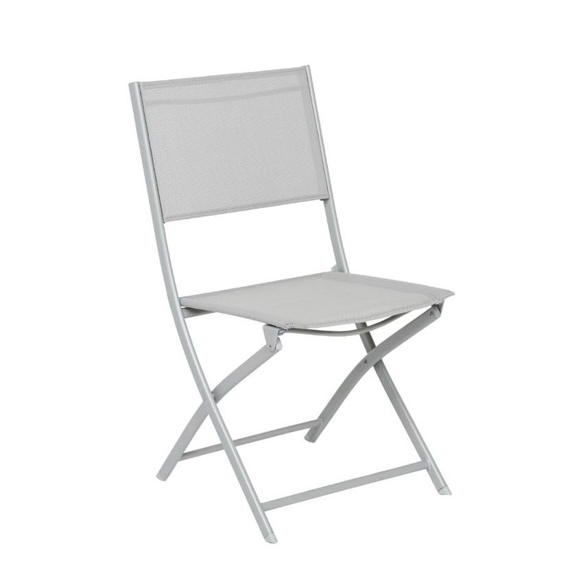 lot de 2 chaises de jardin pliantes modula gris silver chaise et fauteuil de jardin eminza. Black Bedroom Furniture Sets. Home Design Ideas