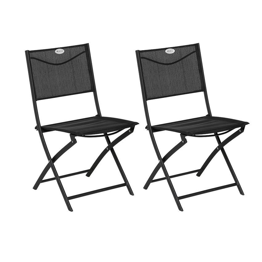 lot de 2 chaises de jardin pliantes modula noir chaise et fauteuil de jardin eminza. Black Bedroom Furniture Sets. Home Design Ideas