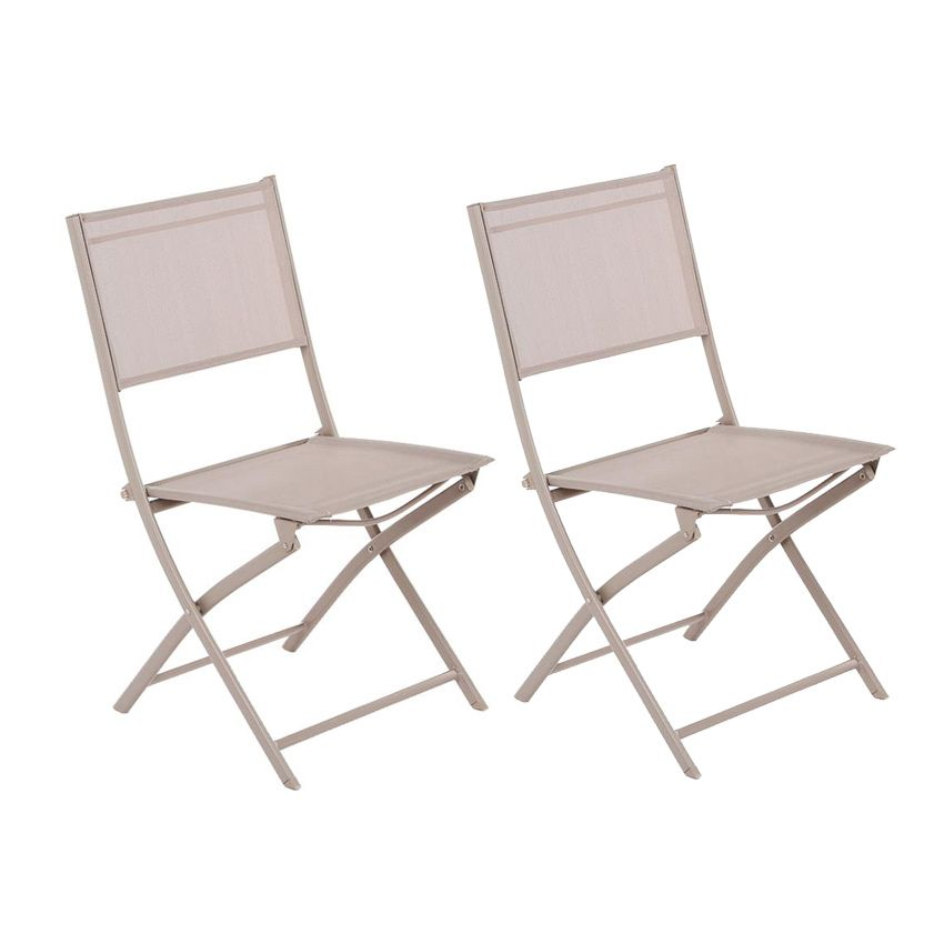 lot de 2 chaises de jardin pliantes modula taupe chaise et fauteuil de jardin eminza. Black Bedroom Furniture Sets. Home Design Ideas