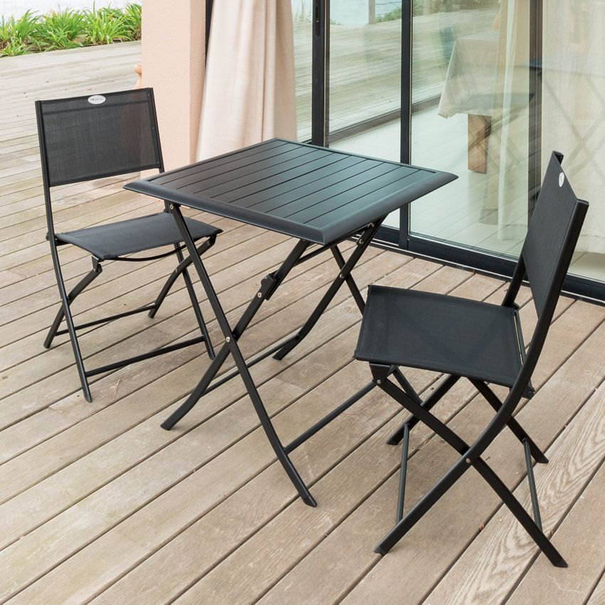 table de jardin pliante aluminium azua 71 x 71 cm graphite table de jardin eminza. Black Bedroom Furniture Sets. Home Design Ideas