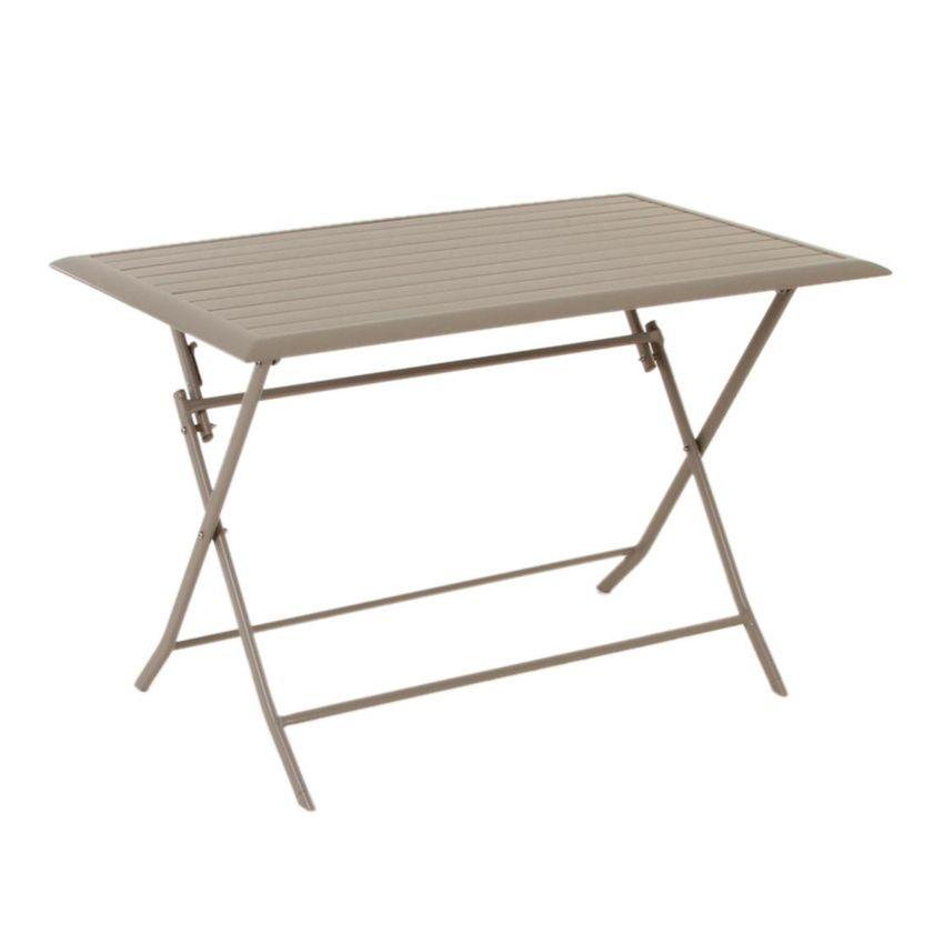 Table de jardin pliante aluminium azua 110 x 71 cm - Salon de jardin hesperide azua taupe ...