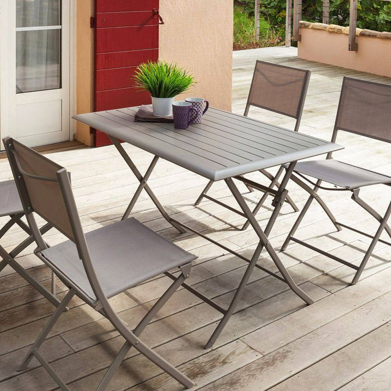 table de jardin pliante aluminium azua 110 x 71 cm taupe table de jardin eminza. Black Bedroom Furniture Sets. Home Design Ideas