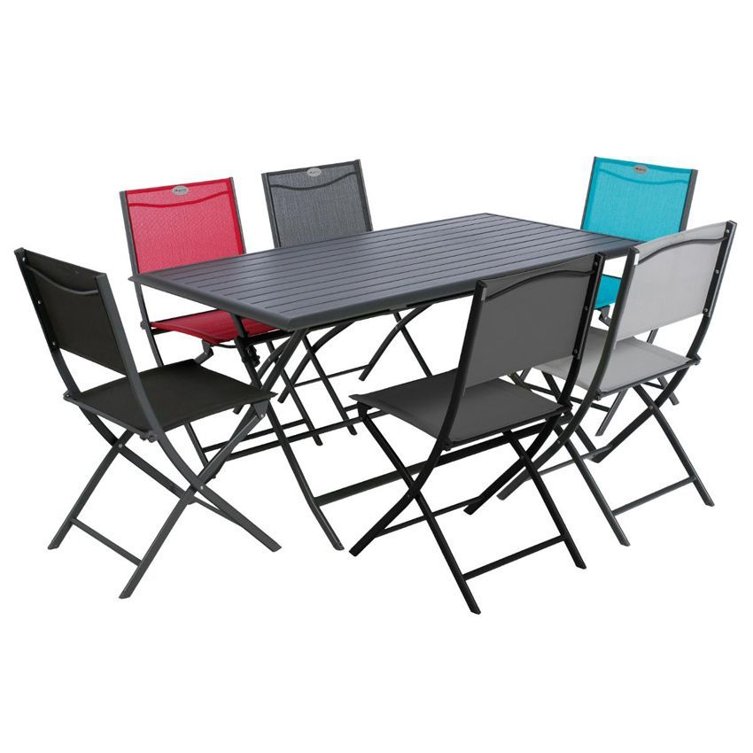 Table de jardin pliante aluminium azua 150 x 80 cm graphite table de jardin eminza - Table pliante aluminium ...