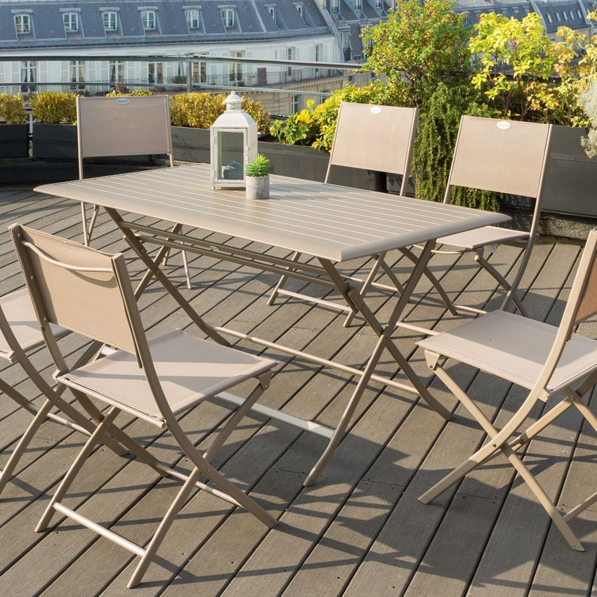 Table de jardin pliante aluminium azua 150 x 80 cm for Table jardin pliante