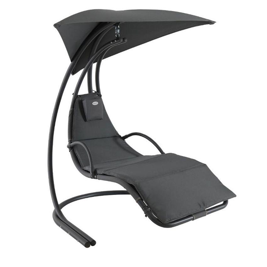 Fauteuil suspendu majorque anthracite balancelle eminza for Bain de soleil fauteuil