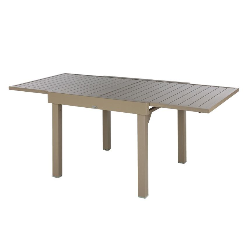 table de jardin extensible aluminium piazza max 180 cm taupe table de jardin eminza. Black Bedroom Furniture Sets. Home Design Ideas