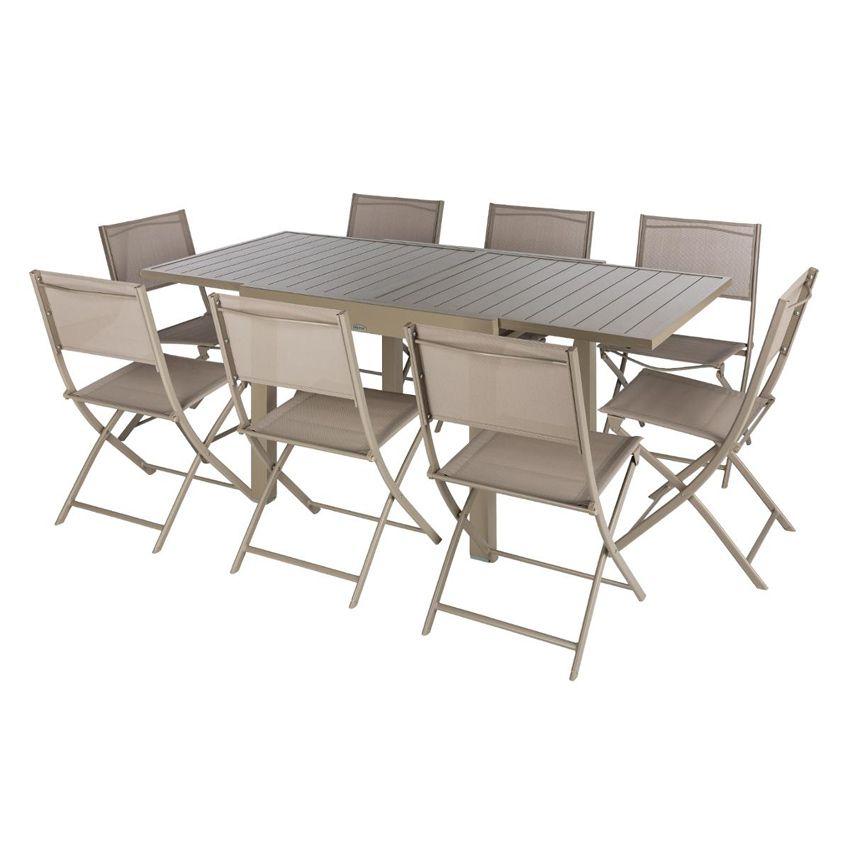 Table de jardin extensible aluminium piazza max 180 cm taupe table de jardin eminza - Table jardin largeur cm paris ...
