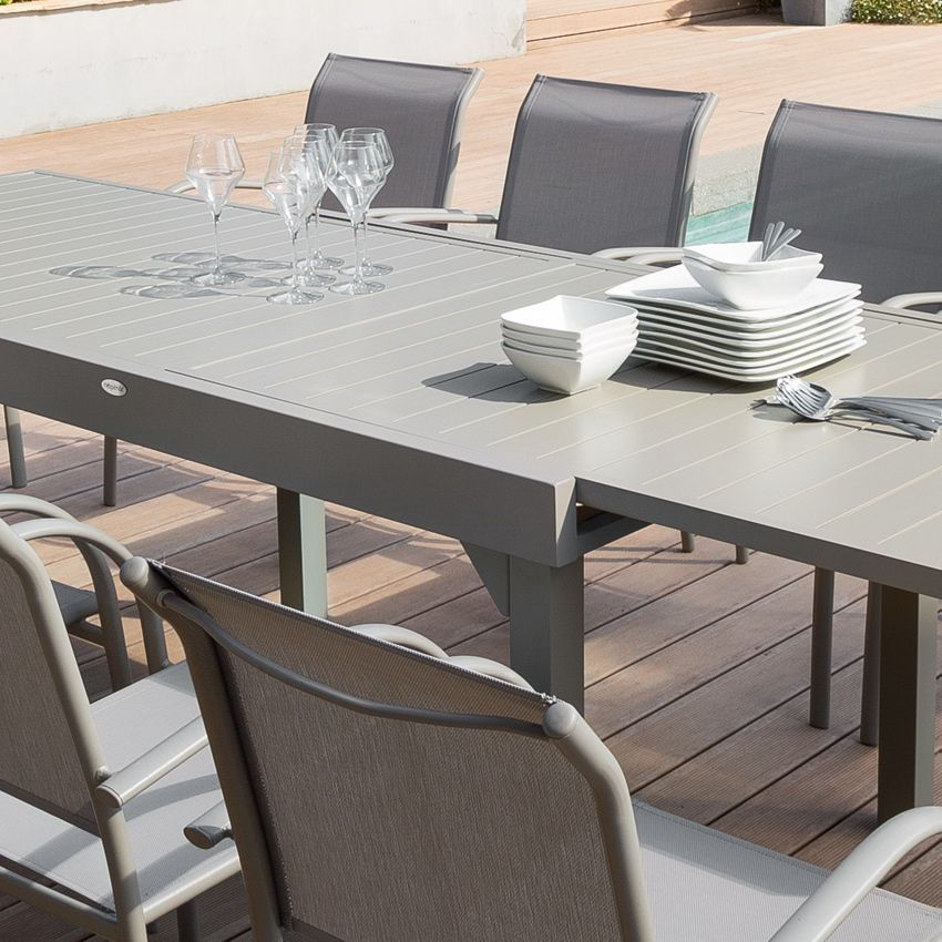 Table De Jardin Extensible Aluminium Piazza Max 270 Cm Taupe Table De Jardin Eminza