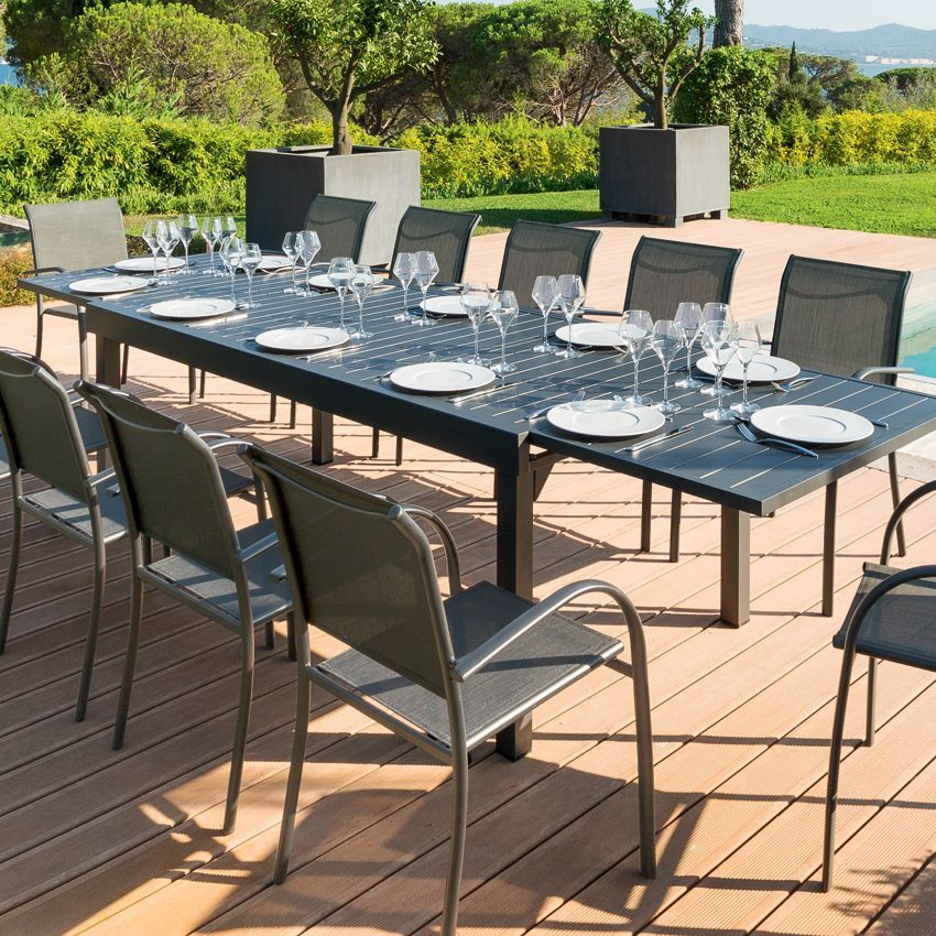 table de jardin extensible aluminium piazza 320 x 100 cm graphite table de jardin eminza. Black Bedroom Furniture Sets. Home Design Ideas