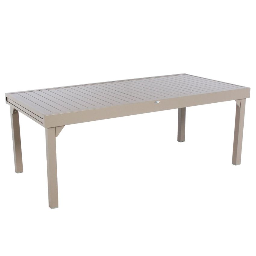 Table de jardin extensible aluminium piazza max 300 cm taupe table de jardin eminza for Table 300 cm