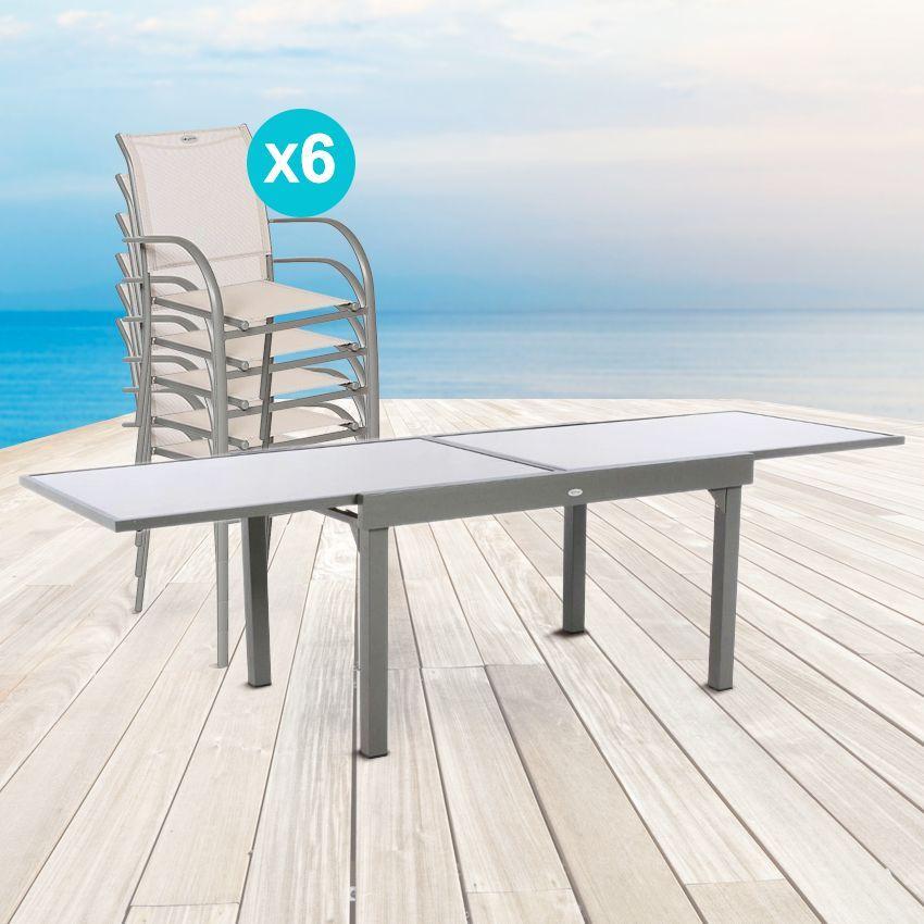 salon de jardin piazza taupe mastic verre 6 10. Black Bedroom Furniture Sets. Home Design Ideas