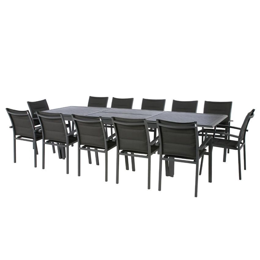 Table de jardin extensible aluminium azua 300 x 100 cm for Table de 100