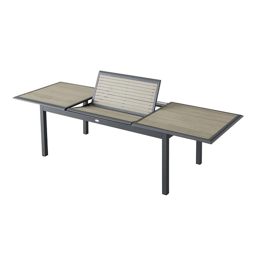 Salon de jardin azua composite taupe anthracite 8 12 for Table exterieur 12 personnes