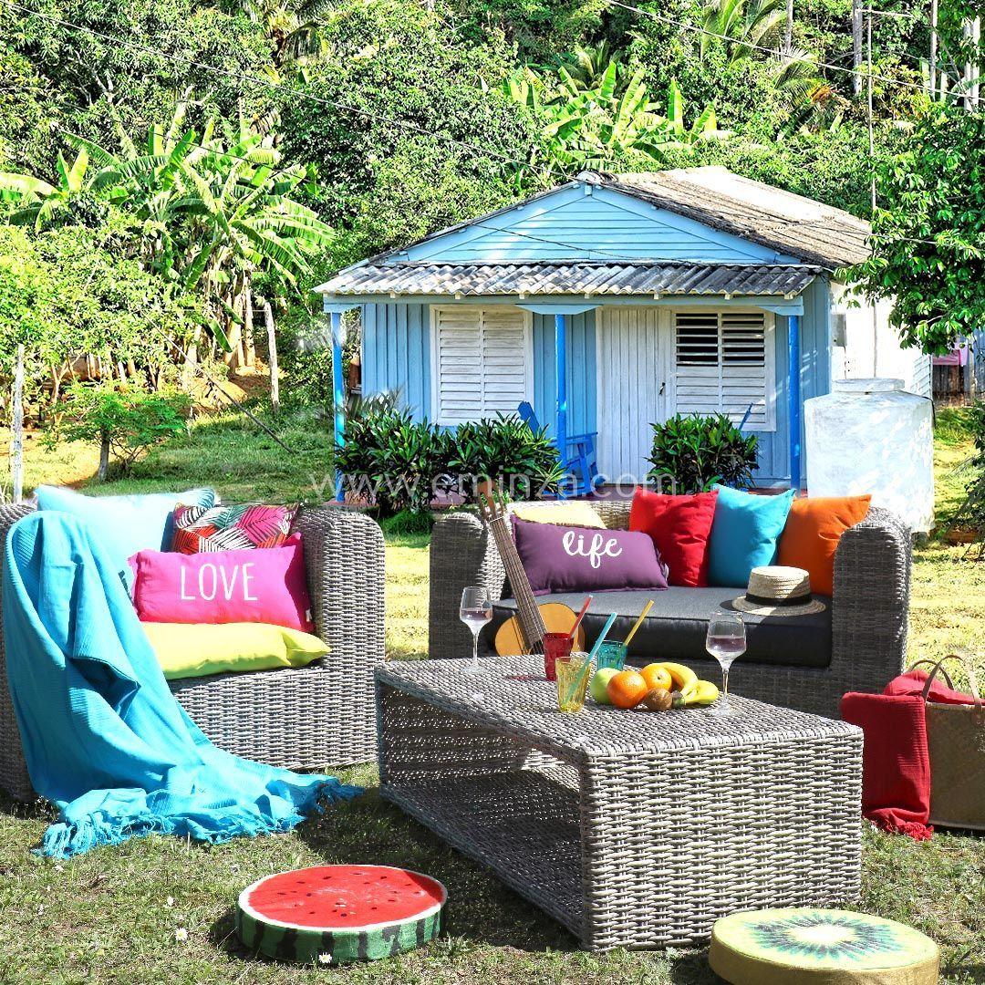 Salon de jardin Libertad Sepia/Gris anthracite - 5 places - Salon ...