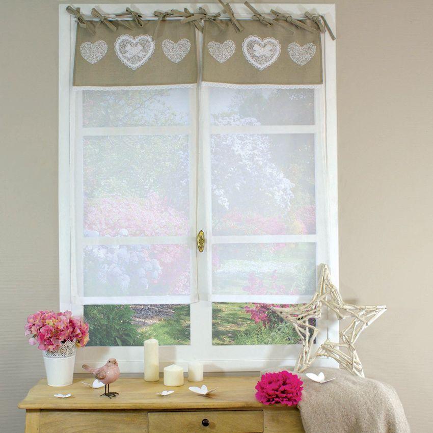 paire de voilages 60 x h 160 cm etamine dentelle lin voilage eminza. Black Bedroom Furniture Sets. Home Design Ideas