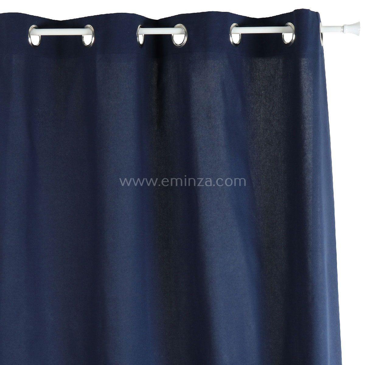 rideau tamisant 140 cm x h240 etna bleu marine rideau tamisant eminza. Black Bedroom Furniture Sets. Home Design Ideas