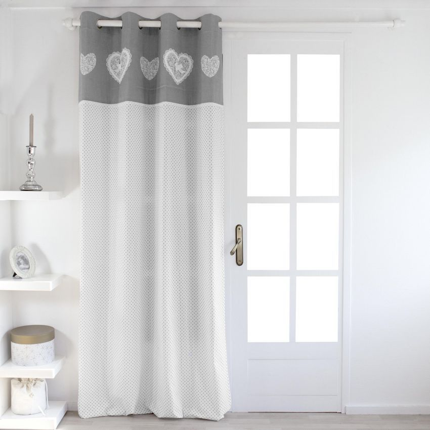 rideau tamisant 140 x h240 cm etamine dentelle gris. Black Bedroom Furniture Sets. Home Design Ideas