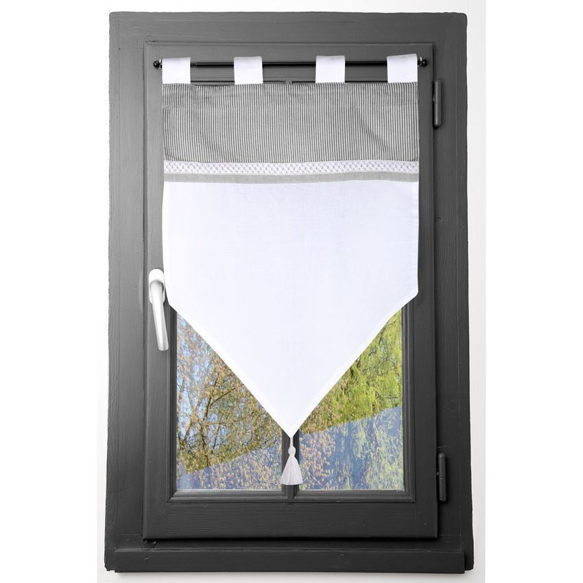 Voilage vitrage 60 x 90 cm ang le blanc voilage eminza for Voilage cuisine 60 x 90