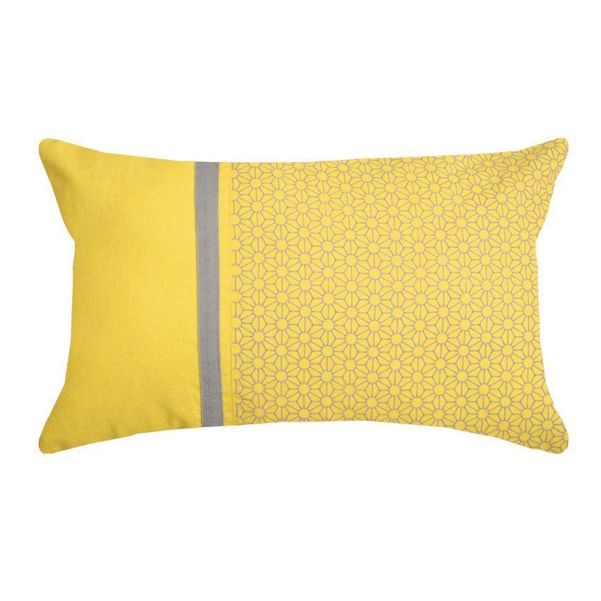 Coussin rectangulaire sina jaune coussin eminza for La ligne verte linge de maison